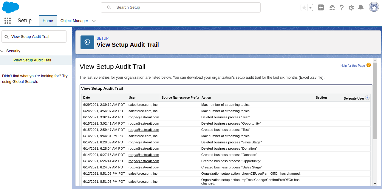 Click on the View Setup Audit Trail option