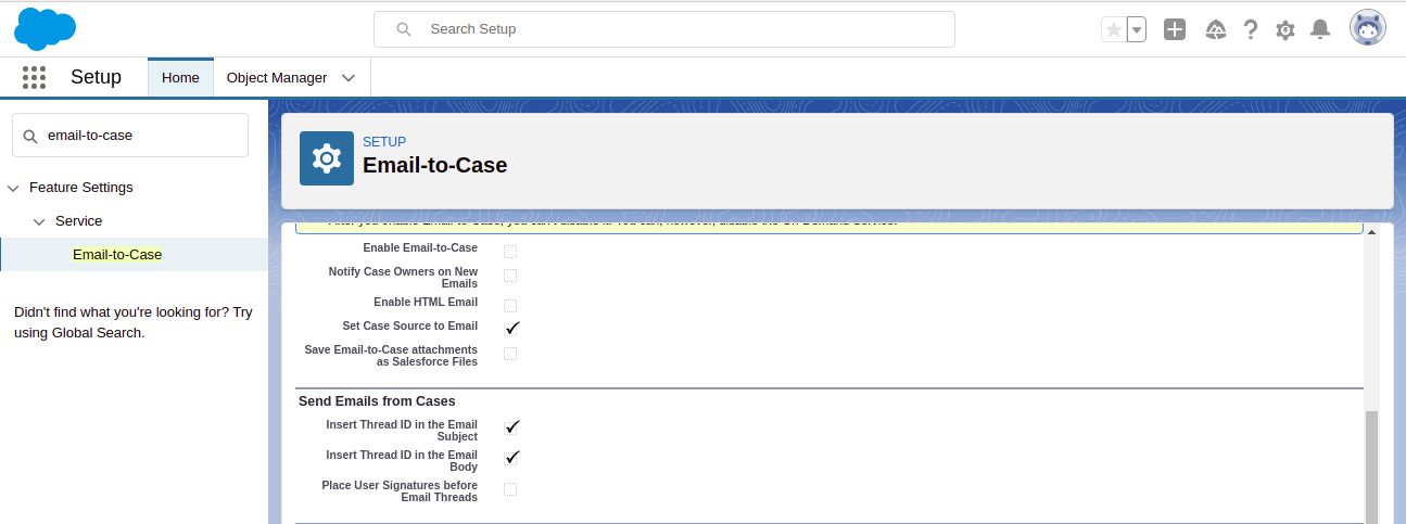 Configure Email-to-Case settings