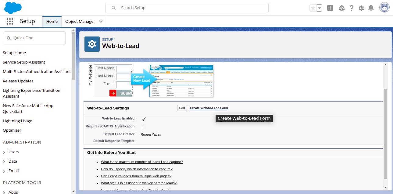 Create Web-to-Lead
