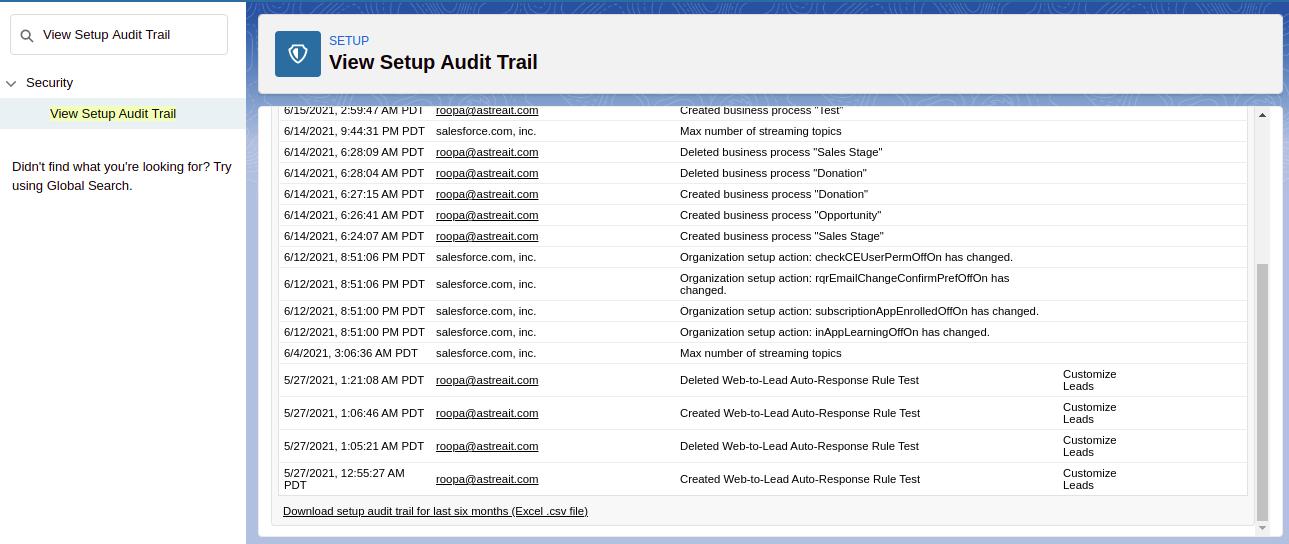 Download View Setup Audit Trail
