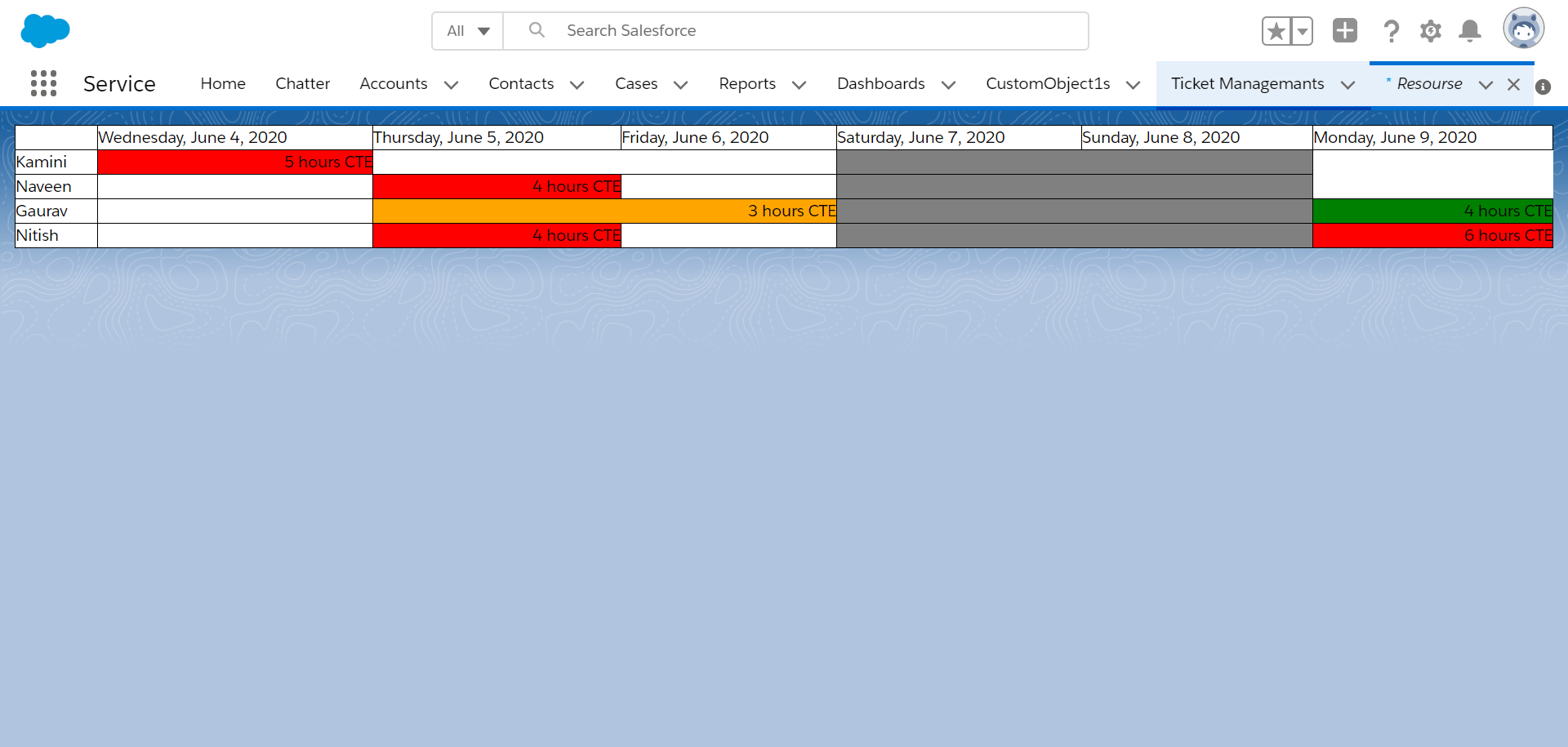 Employee availability component case object