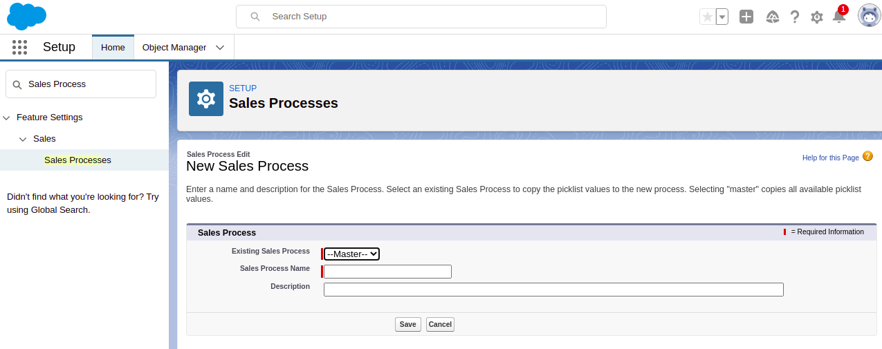 Enter the entries for the New Sales Process