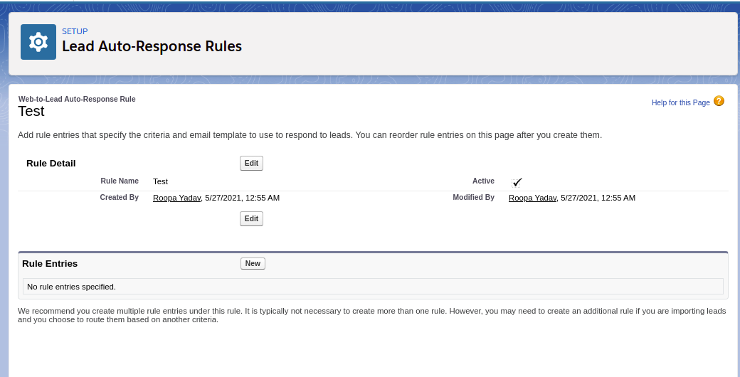 Enter the rule entries for the auto-response rules