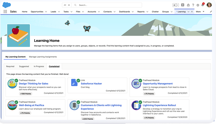 Learning home in Salesforce