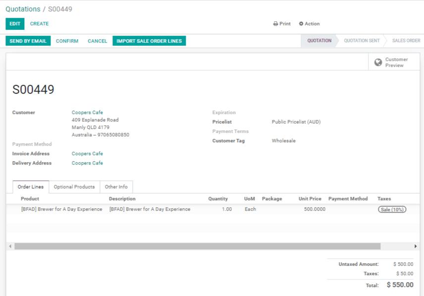 Odoo Sales Module Screenshot 1