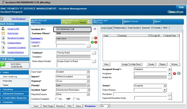 Incident Interface Create WS - Remedy Salesforce