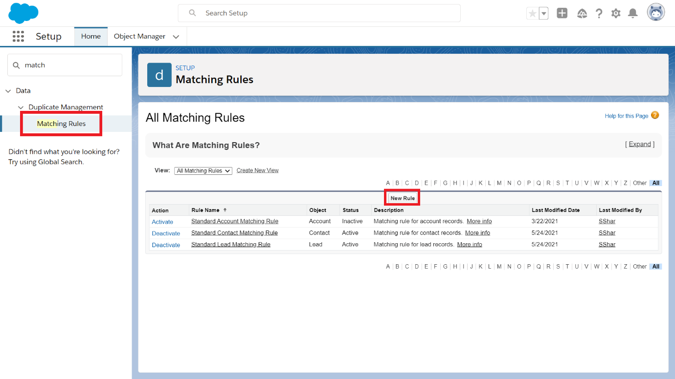 Search for Matching Rules in Quick Find box