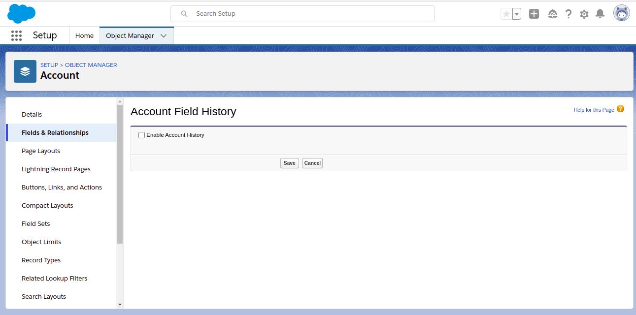 Select Enable Account History