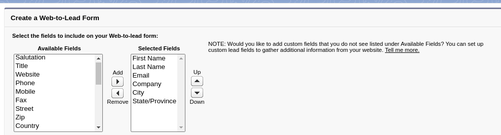 Select field for Web-to-Lead forms