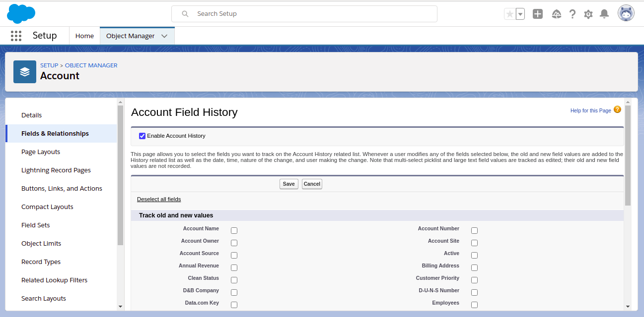 Select the fields for the standard object