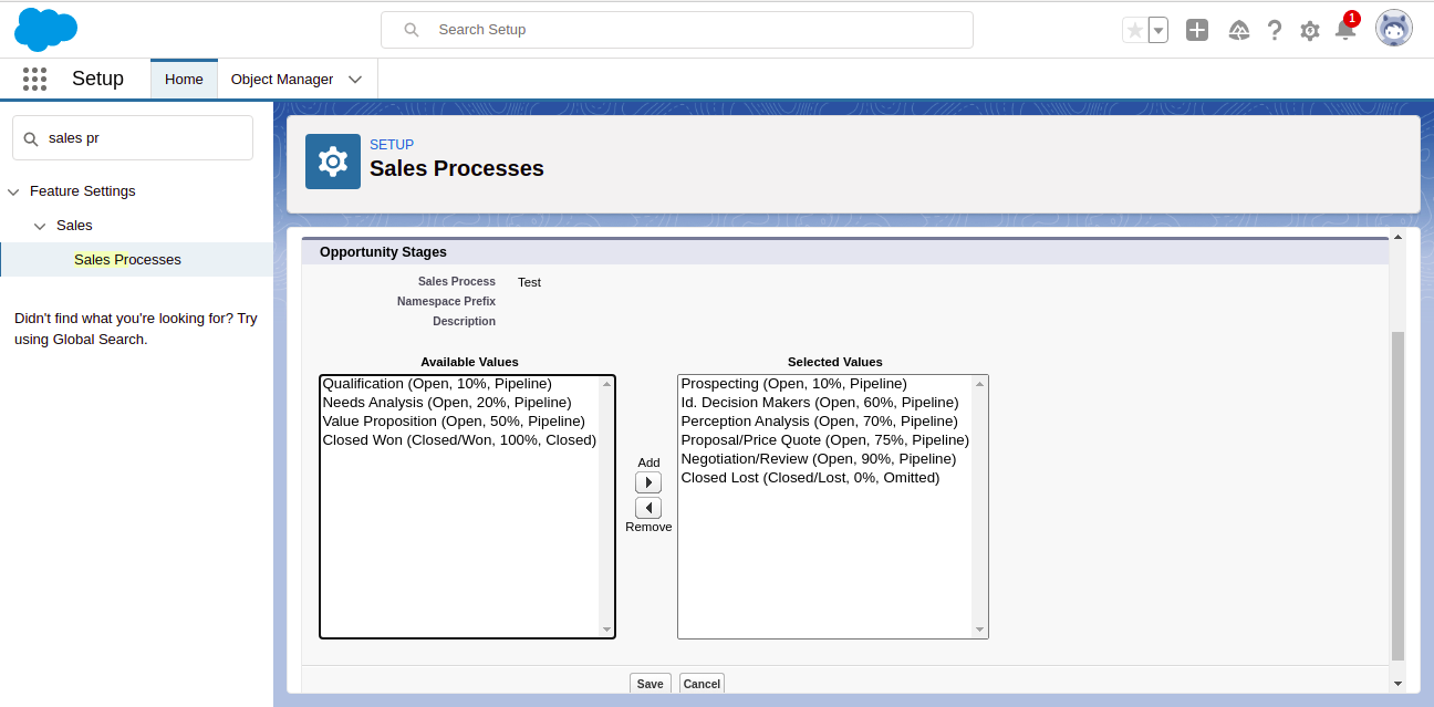 Select the values for the Sales Process
