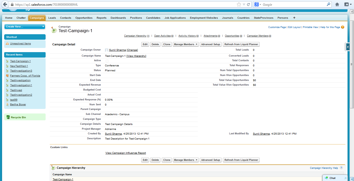 Test Campaign 1 Record In Salesforce
