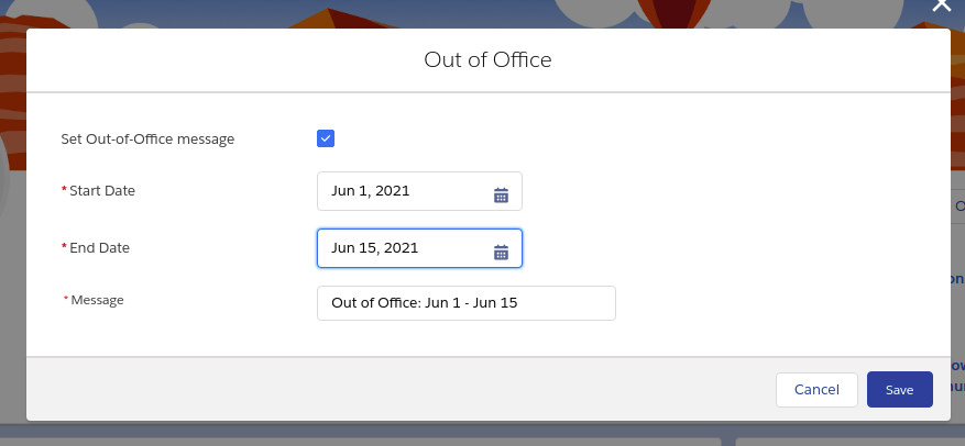 Update Out of Office settings