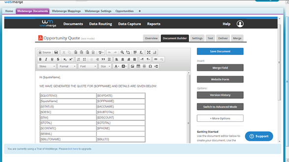Document And Mappings Setup In Webmerge Salesforce