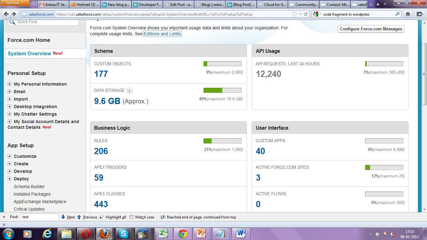 Screenshot of Salesforce System Overview screen